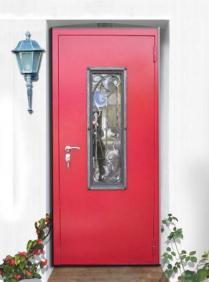 Образец двери с ковкой и стеклопакетом